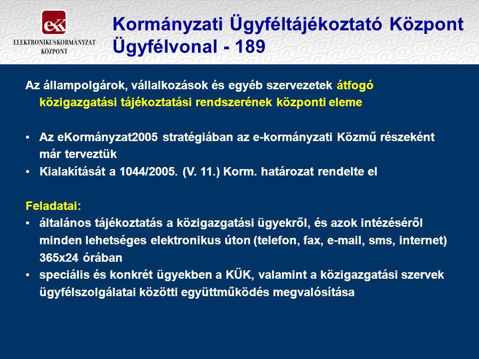 Kormányzati Ügyféltájékoztató Központ Ügyfélvonal - 189 Az állampolgárok, vállalkozások és egyéb szervezetek átfogó közigazgatási tájékoztatási rendsz