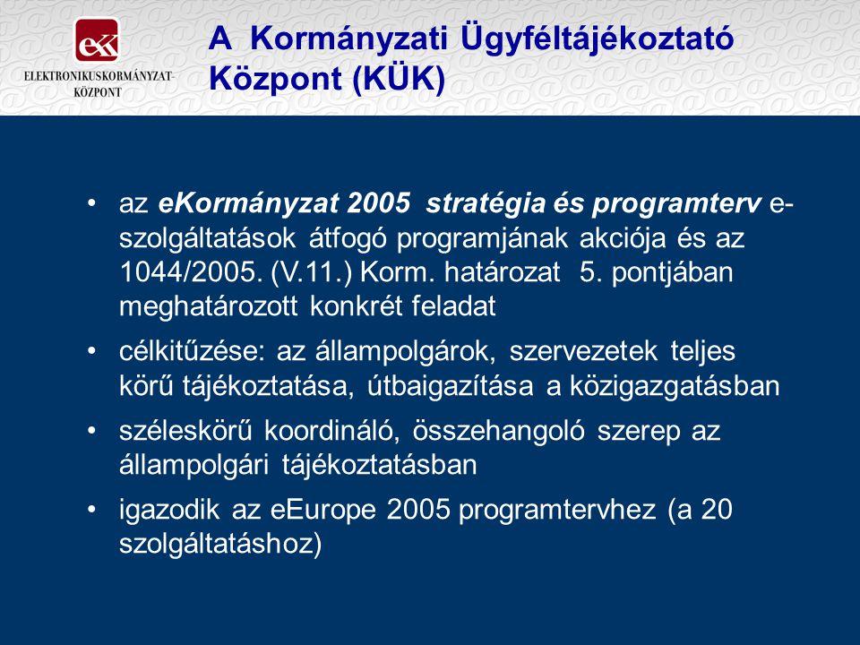 A Kormányzati Ügyféltájékoztató Központ (KÜK) az eKormányzat 2005 stratégia és programterv e- szolgáltatások átfogó programjának akciója és az 1044/20