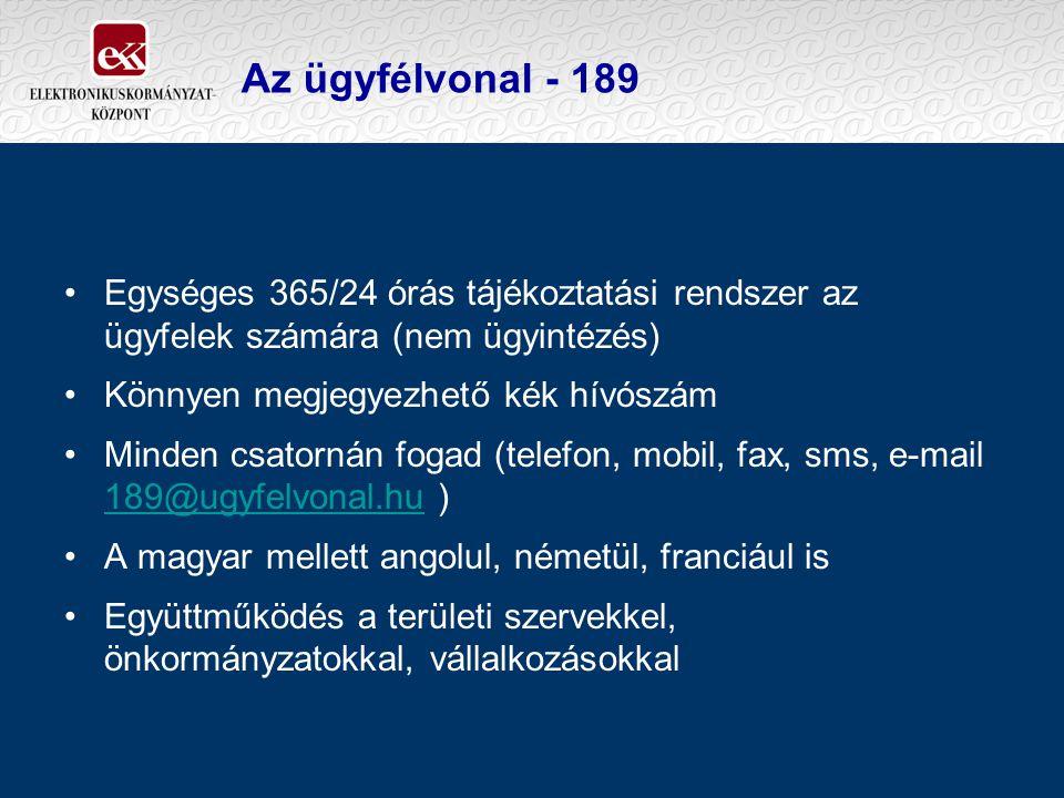 Egységes 365/24 órás tájékoztatási rendszer az ügyfelek számára (nem ügyintézés) Könnyen megjegyezhető kék hívószám Minden csatornán fogad (telefon, mobil, fax, sms, e-mail 189@ugyfelvonal.hu ) 189@ugyfelvonal.hu A magyar mellett angolul, németül, franciául is Együttműködés a területi szervekkel, önkormányzatokkal, vállalkozásokkal Az ügyfélvonal - 189