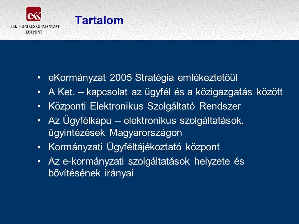 Tartalom eKormányzat 2005 Stratégia emlékeztetőül A Ket. – kapcsolat az ügyfél és a közigazgatás között Központi Elektronikus Szolgáltató Rendszer Az