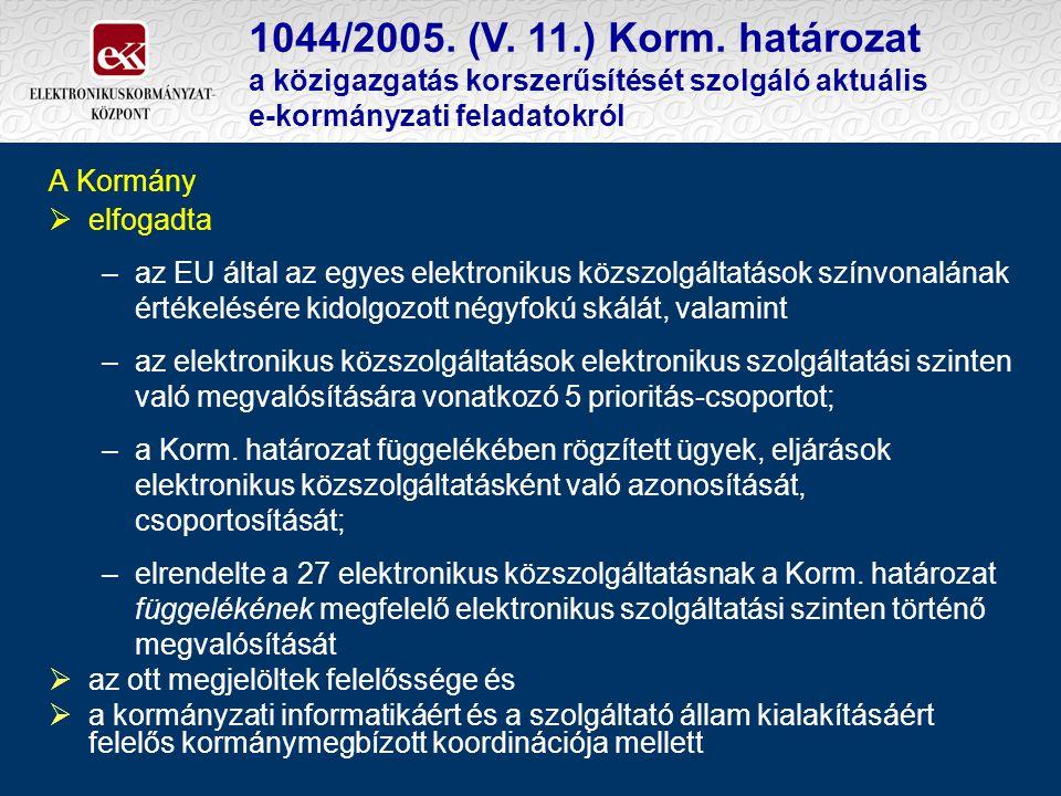 1044/2005. (V. 11.) Korm. határozat a közigazgatás korszerűsítését szolgáló aktuális e-kormányzati feladatokról A Kormány  elfogadta –az EU által az