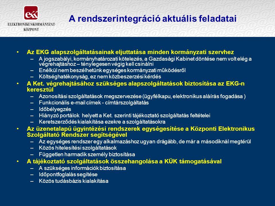 A rendszerintegráció aktuális feladatai Az EKG alapszolgáltatásainak eljuttatása minden kormányzati szervhez –A jogszabályi, kormányhatározati kötelez