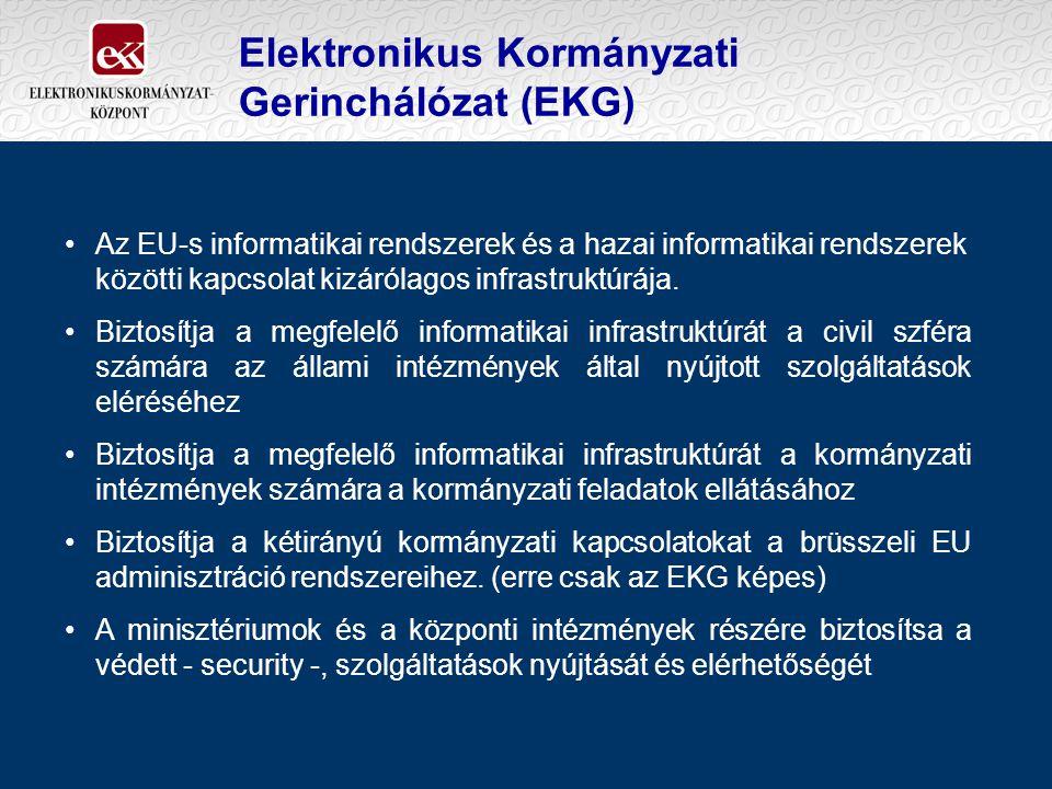 Elektronikus Kormányzati Gerinchálózat (EKG) Az EU-s informatikai rendszerek és a hazai informatikai rendszerek közötti kapcsolat kizárólagos infrastruktúrája.