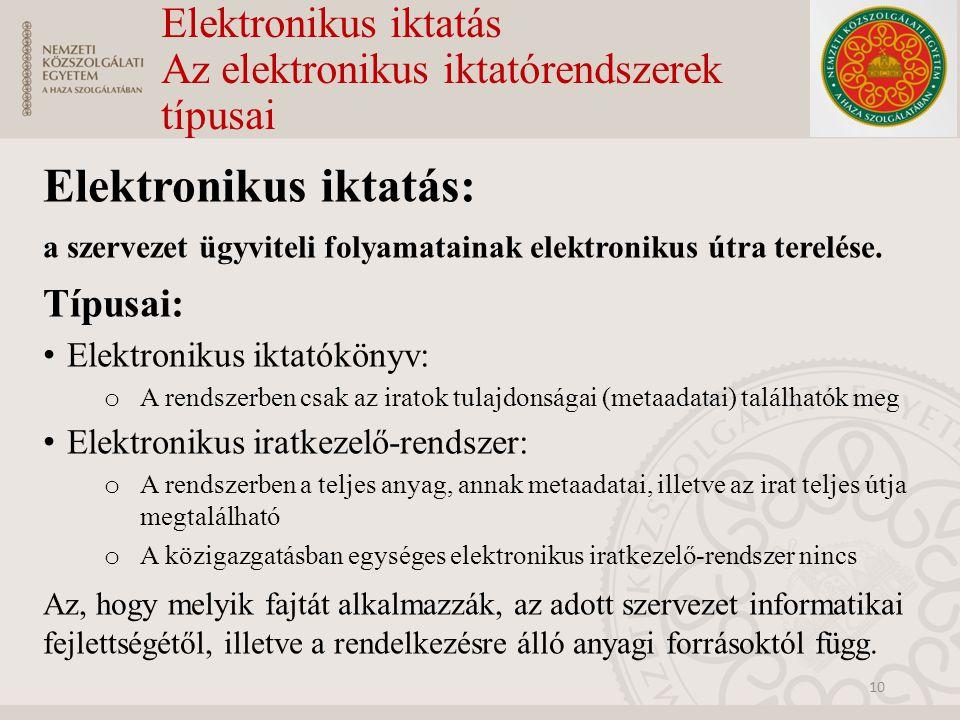 Elektronikus iktatás Az elektronikus iktatórendszerek típusai Elektronikus iktatás: a szervezet ügyviteli folyamatainak elektronikus útra terelése. Tí