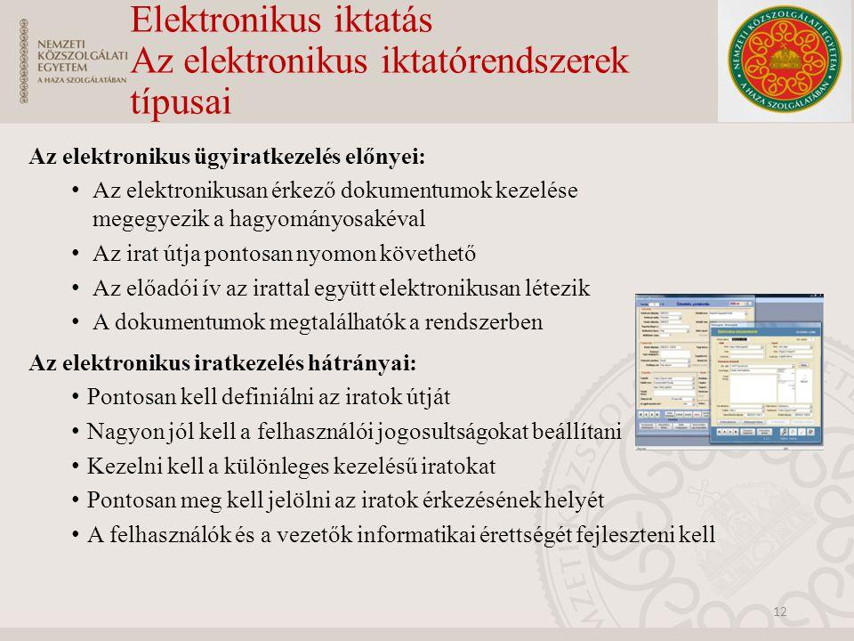 Elektronikus iktatás Az elektronikus iktatórendszerek típusai Az elektronikus ügyiratkezelés előnyei: Az elektronikusan érkező dokumentumok kezelése m
