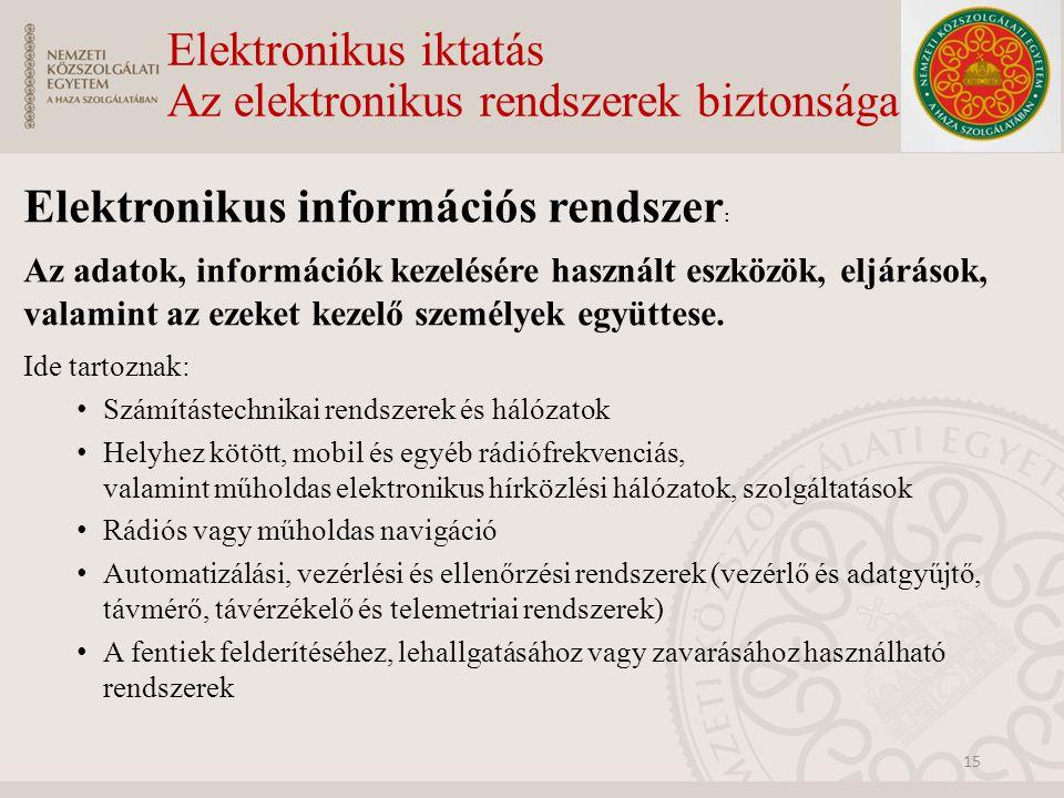 Elektronikus iktatás Az elektronikus rendszerek biztonsága Elektronikus információs rendszer : Az adatok, információk kezelésére használt eszközök, el