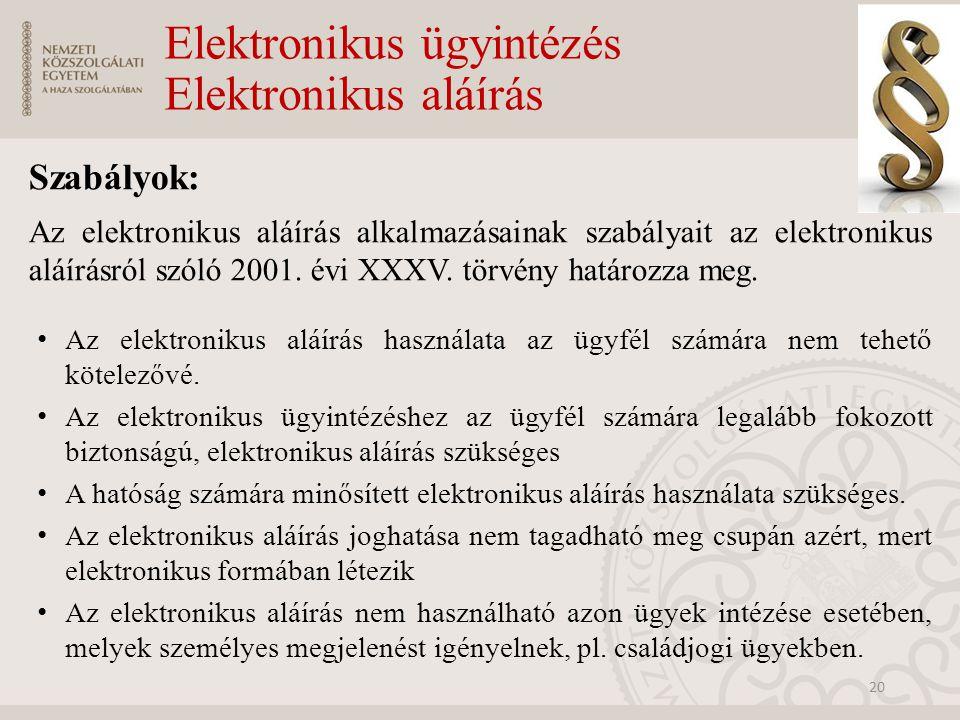 Elektronikus ügyintézés Elektronikus aláírás Szabályok: Az elektronikus aláírás alkalmazásainak szabályait az elektronikus aláírásról szóló 2001. évi