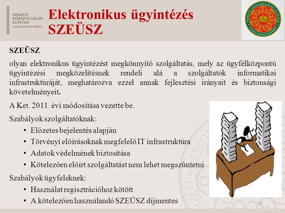 Elektronikus ügyintézés SZEÜSZ SZEÜSZ olyan elektronikus ügyintézést megkönnyítő szolgáltatás, mely az ügyfélközpontú ügyintézési megközelítésnek rend