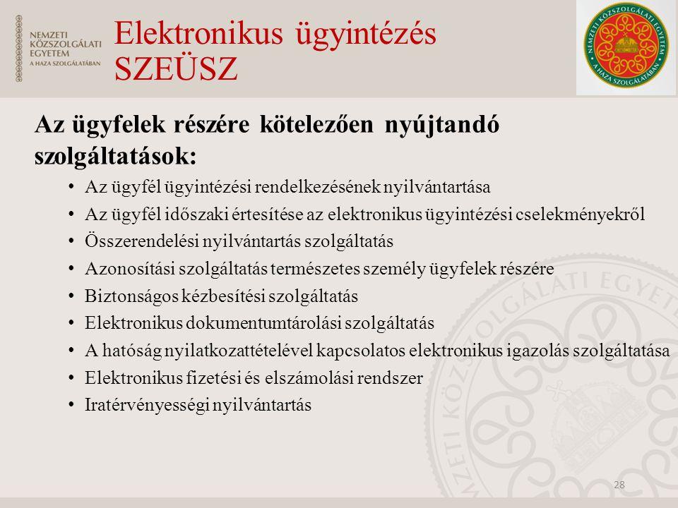 Elektronikus ügyintézés SZEÜSZ Az ügyfelek részére kötelezően nyújtandó szolgáltatások: Az ügyfél ügyintézési rendelkezésének nyilvántartása Az ügyfél