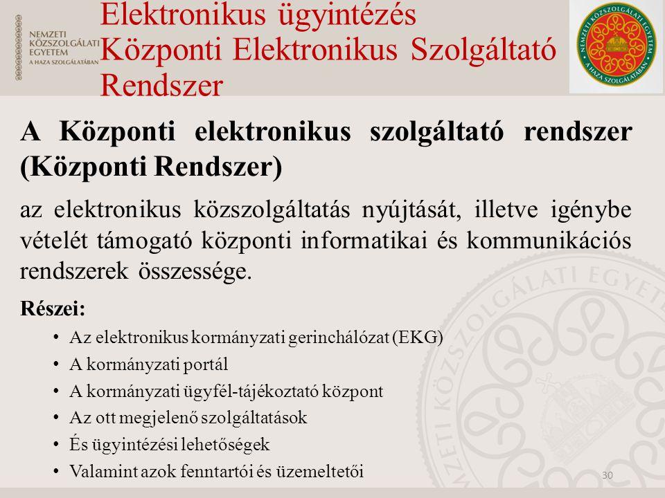 Elektronikus ügyintézés Központi Elektronikus Szolgáltató Rendszer A Központi elektronikus szolgáltató rendszer (Központi Rendszer) az elektronikus kö