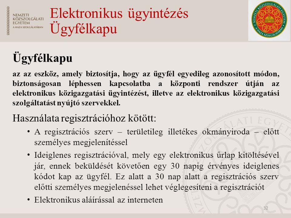 Elektronikus ügyintézés Ügyfélkapu Ügyfélkapu az az eszköz, amely biztosítja, hogy az ügyfél egyedileg azonosított módon, biztonságosan léphessen kapc