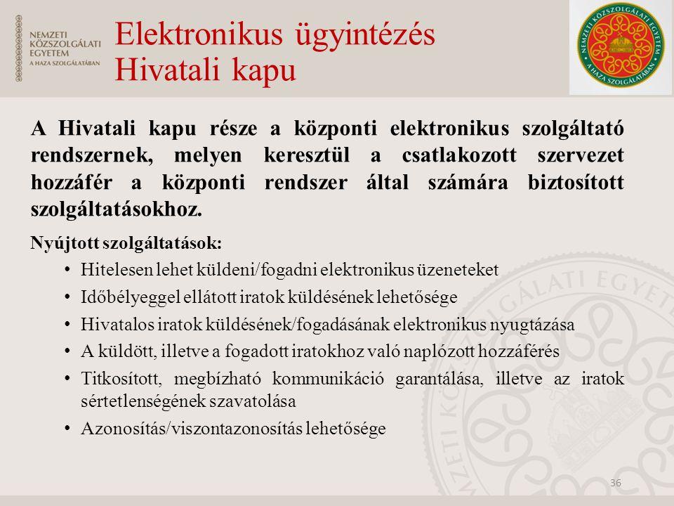 Elektronikus ügyintézés Hivatali kapu A Hivatali kapu része a központi elektronikus szolgáltató rendszernek, melyen keresztül a csatlakozott szervezet