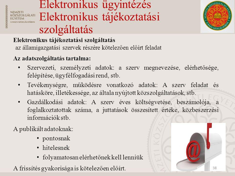 Elektronikus ügyintézés Elektronikus tájékoztatási szolgáltatás Elektronikus tájékoztatási szolgáltatás az államigazgatási szervek részére kötelezően