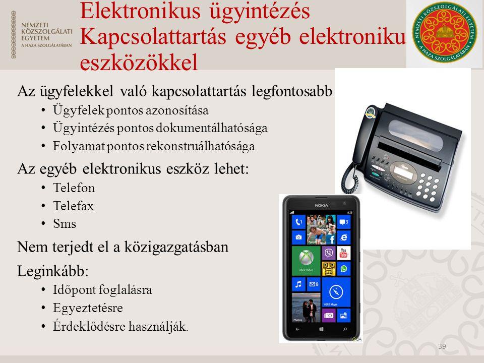 Elektronikus ügyintézés Kapcsolattartás egyéb elektronikus eszközökkel Az ügyfelekkel való kapcsolattartás legfontosabb alapelvei: Ügyfelek pontos azo