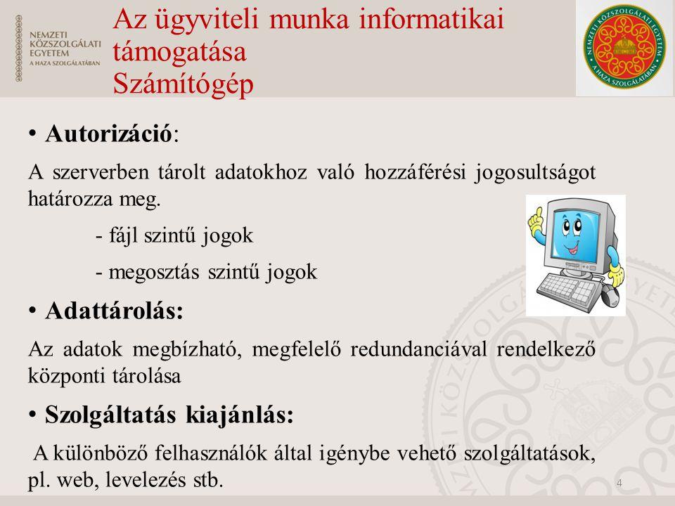 Az ügyviteli munka informatikai támogatása Számítógép Autorizáció: A szerverben tárolt adatokhoz való hozzáférési jogosultságot határozza meg. - fájl