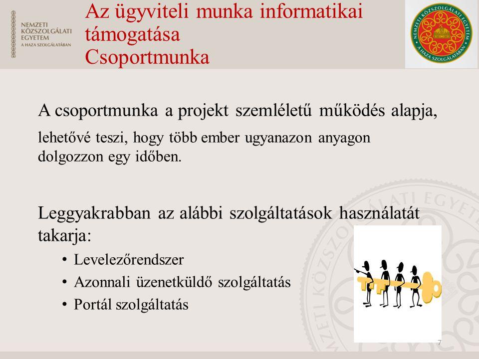 Az ügyviteli munka informatikai támogatása Csoportmunka A csoportmunka a projekt szemléletű működés alapja, lehetővé teszi, hogy több ember ugyanazon