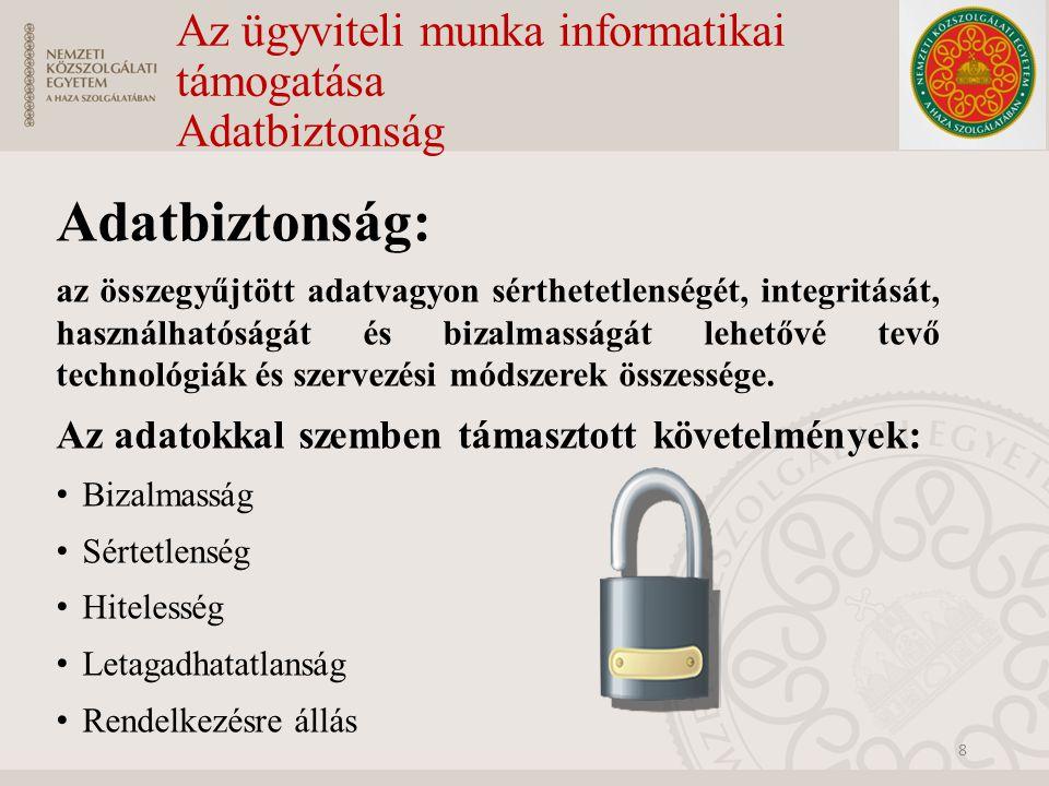 Az ügyviteli munka informatikai támogatása Adatbiztonság Az adatbiztonság szintjei: Fizikai védelem: Az adatokat érő fizikai behatások elleni védelem Logikai védelem: Tulajdonképpen illetéktelen hozzáférés elleni védelem, azaz már informatikai eszközökkel igyekszünk az adatokkal szemben támasztott követelményeket biztosítani.