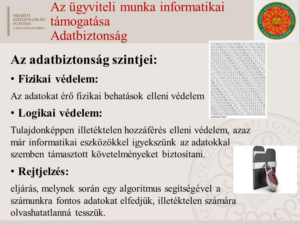 Az ügyviteli munka informatikai támogatása Adatbiztonság Az adatbiztonság szintjei: Fizikai védelem: Az adatokat érő fizikai behatások elleni védelem