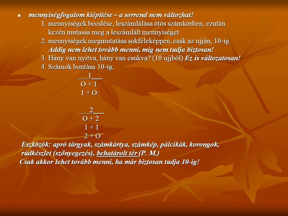 mennyiségfogalom kiépítése – a sorrend nem változhat! mennyiségfogalom kiépítése – a sorrend nem változhat! 1. mennyiségek becslése, leszámlálása ötös