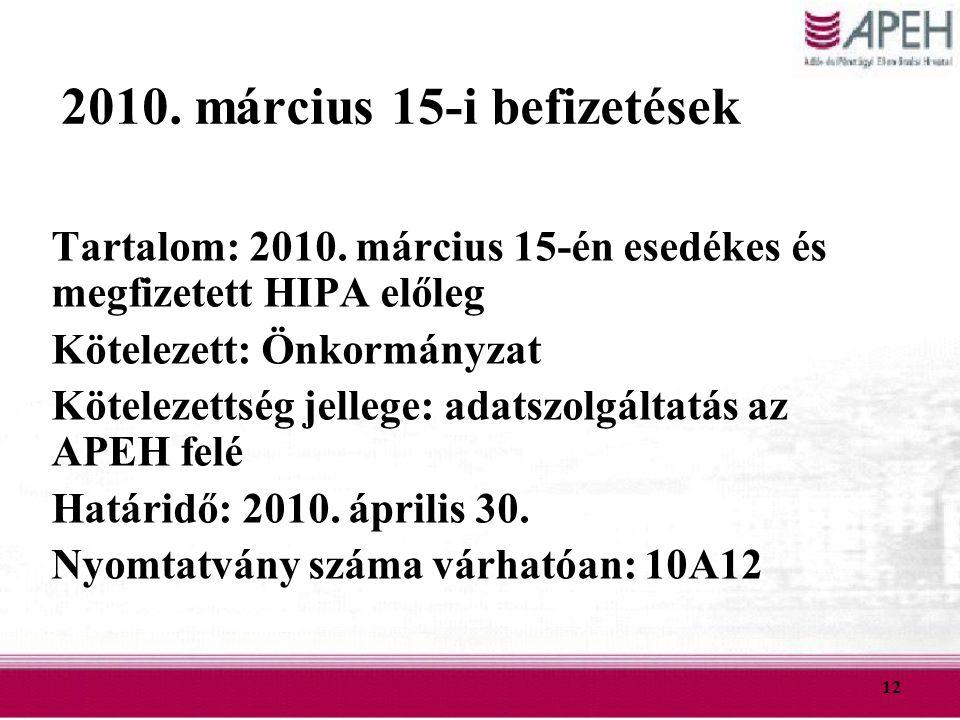 12 2010. március 15-i befizetések Tartalom: 2010. március 15-én esedékes és megfizetett HIPA előleg Kötelezett: Önkormányzat Kötelezettség jellege: ad