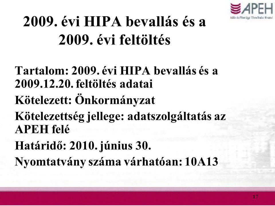 17 2009. évi HIPA bevallás és a 2009. évi feltöltés Tartalom: 2009. évi HIPA bevallás és a 2009.12.20. feltöltés adatai Kötelezett: Önkormányzat Kötel