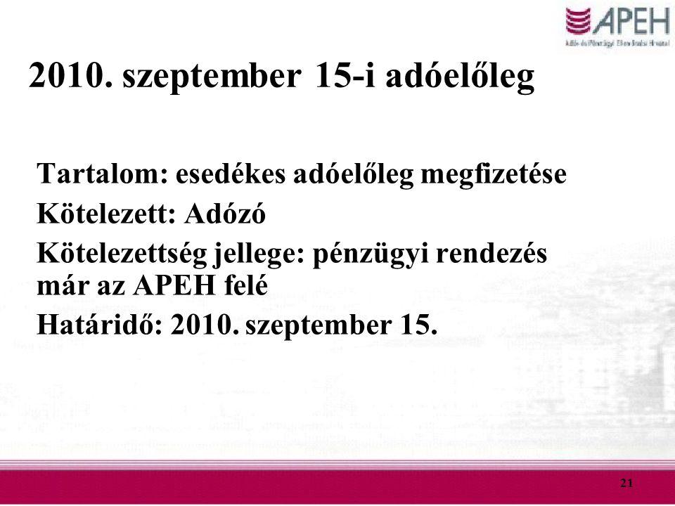 21 2010. szeptember 15-i adóelőleg Tartalom: esedékes adóelőleg megfizetése Kötelezett: Adózó Kötelezettség jellege: pénzügyi rendezés már az APEH fel