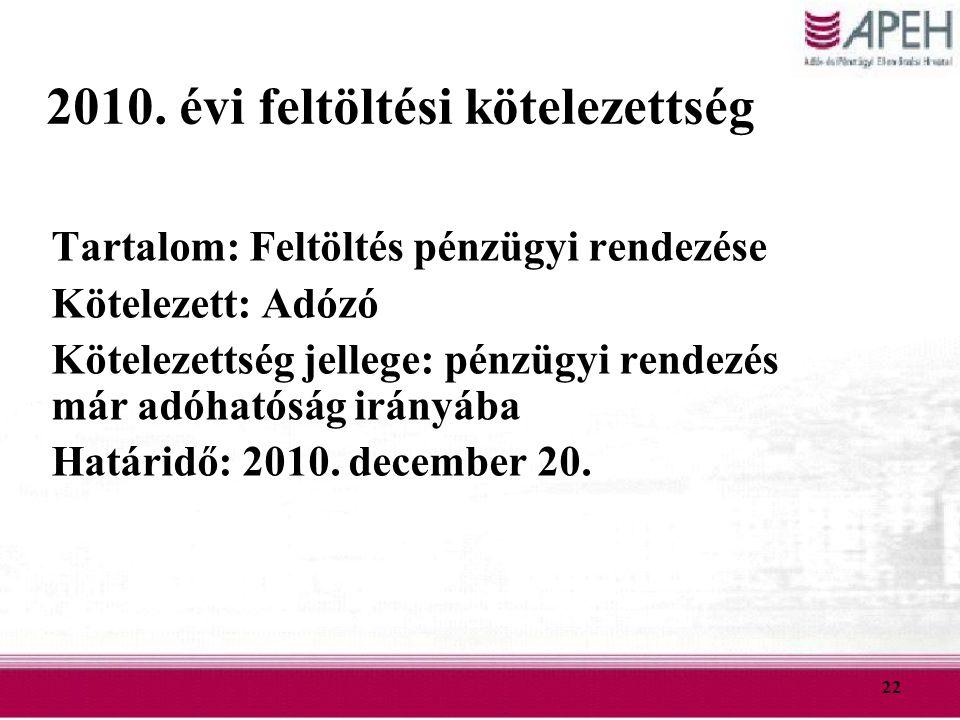 22 2010. évi feltöltési kötelezettség Tartalom: Feltöltés pénzügyi rendezése Kötelezett: Adózó Kötelezettség jellege: pénzügyi rendezés már adóhatóság
