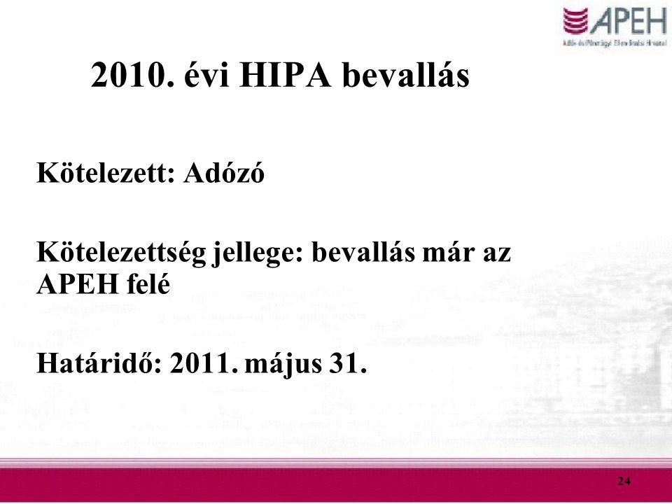 24 2010. évi HIPA bevallás Kötelezett: Adózó Kötelezettség jellege: bevallás már az APEH felé Határidő: 2011. május 31.