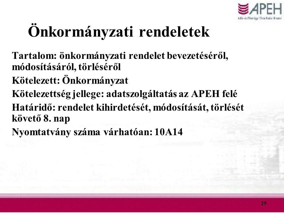 25 Önkormányzati rendeletek Tartalom: önkormányzati rendelet bevezetéséről, módosításáról, törléséről Kötelezett: Önkormányzat Kötelezettség jellege: