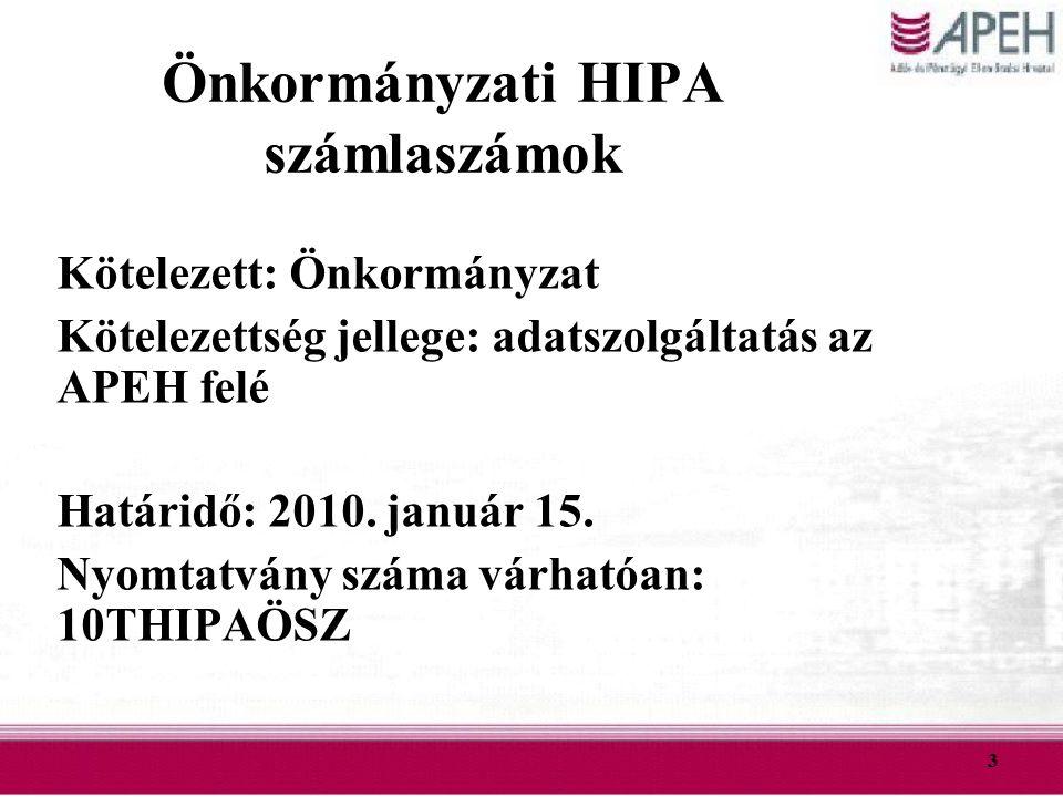 3 Önkormányzati HIPA számlaszámok Kötelezett: Önkormányzat Kötelezettség jellege: adatszolgáltatás az APEH felé Határidő: 2010. január 15. Nyomtatvány