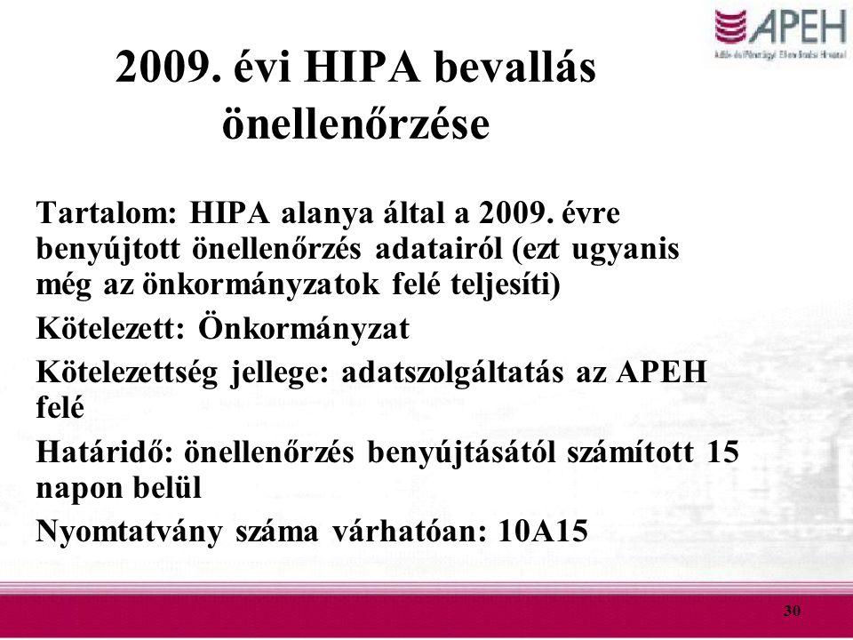 30 2009. évi HIPA bevallás önellenőrzése Tartalom: HIPA alanya által a 2009. évre benyújtott önellenőrzés adatairól (ezt ugyanis még az önkormányzatok