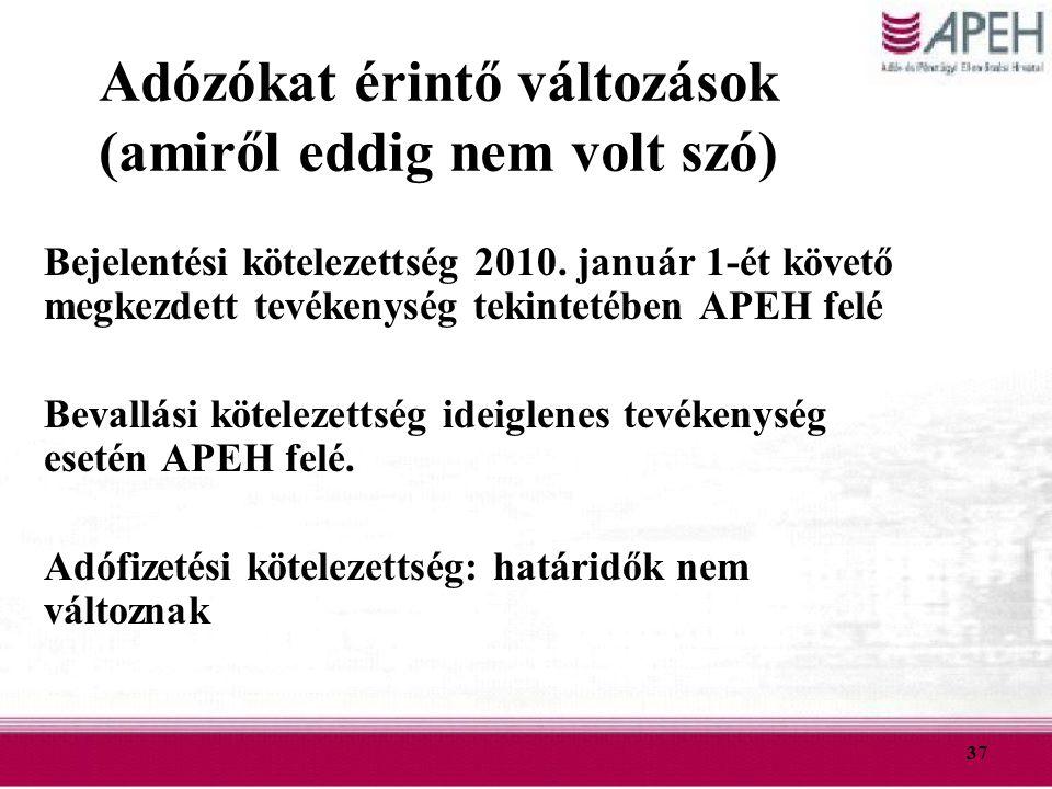 37 Adózókat érintő változások (amiről eddig nem volt szó) Bejelentési kötelezettség 2010. január 1-ét követő megkezdett tevékenység tekintetében APEH