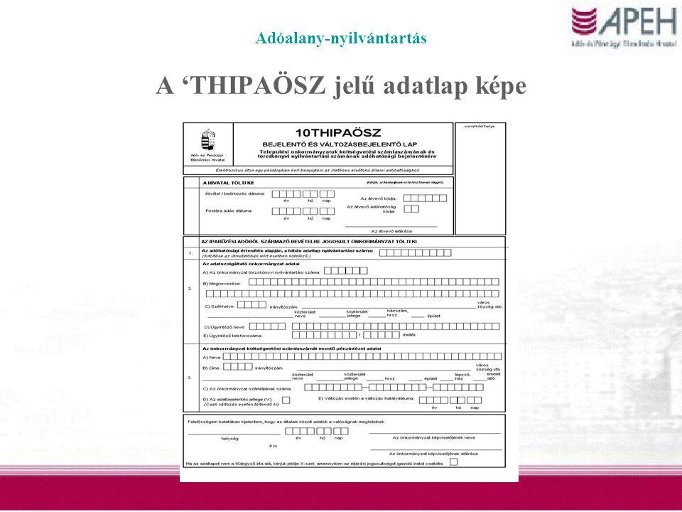 Adóalany-nyilvántartás A 'THIPAÖSZ jelű adatlap képe
