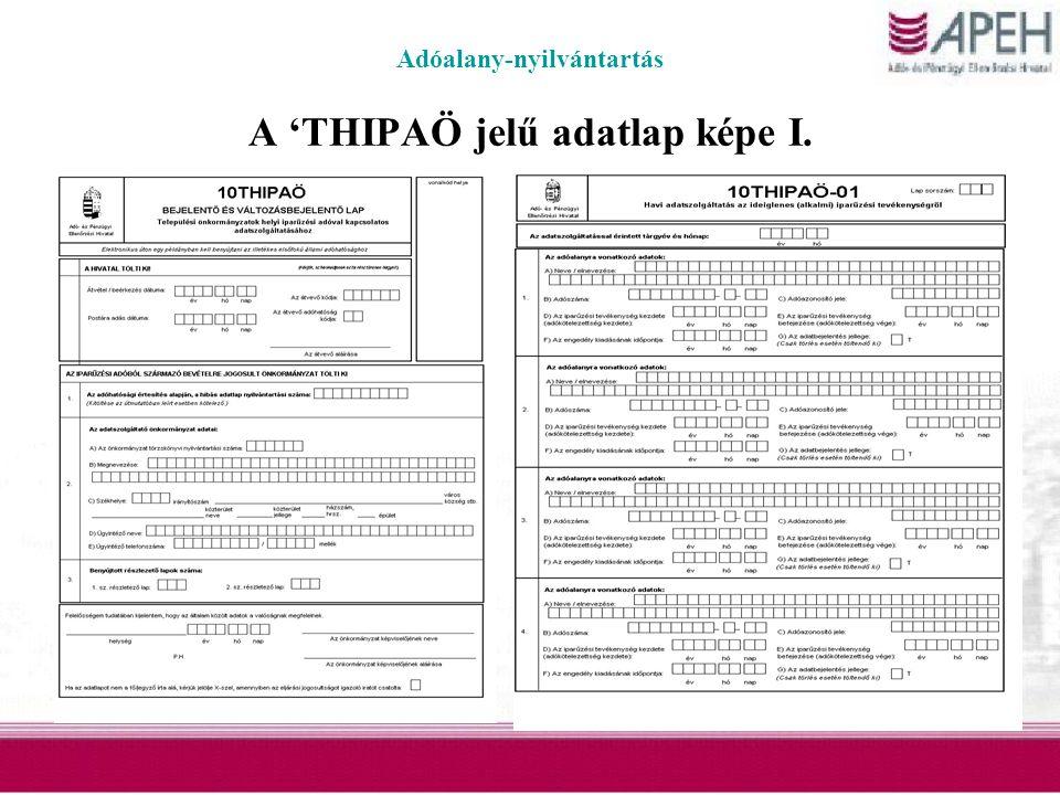 Adóalany-nyilvántartás A 'THIPAÖ jelű adatlap képe I.