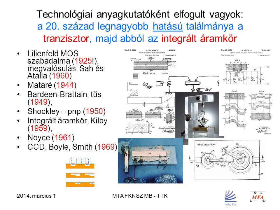 2014. március 17.MTA FKNSZ MB - TTK Technológiai anyagkutatóként elfogult vagyok: a 20. század legnagyobb hatású találmánya a tranzisztor, majd abból