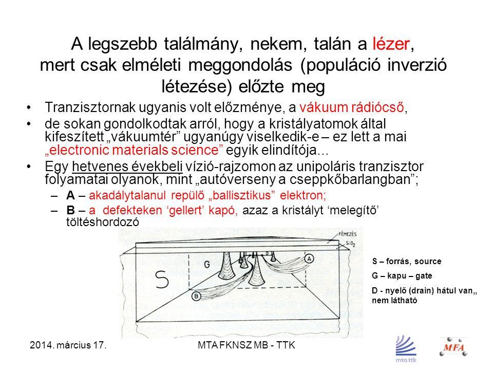 2014. március 17.MTA FKNSZ MB - TTK A legszebb találmány, nekem, talán a lézer, mert csak elméleti meggondolás (populáció inverzió létezése) előzte me