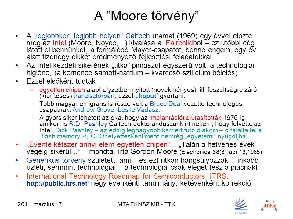 """2014. március 17.MTA FKNSZ MB - TTK A """"Moore törvény"""" A """"legjobbkor, legjobb helyen"""" Caltech utamat (1969) egy évvel előzte meg az Intel (Moore, Noyce"""