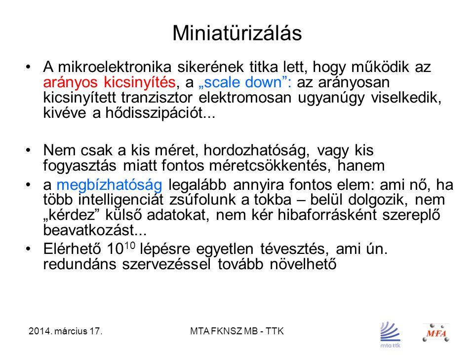 """2014. március 17.MTA FKNSZ MB - TTK Miniatürizálás A mikroelektronika sikerének titka lett, hogy működik az arányos kicsinyítés, a """"scale down"""": az ar"""