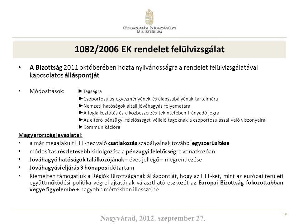 10 1082/2006 EK rendelet felülvizsgálat A Bizottság 2011 októberében hozta nyilvánosságra a rendelet felülvizsgálatával kapcsolatos álláspontját Módos