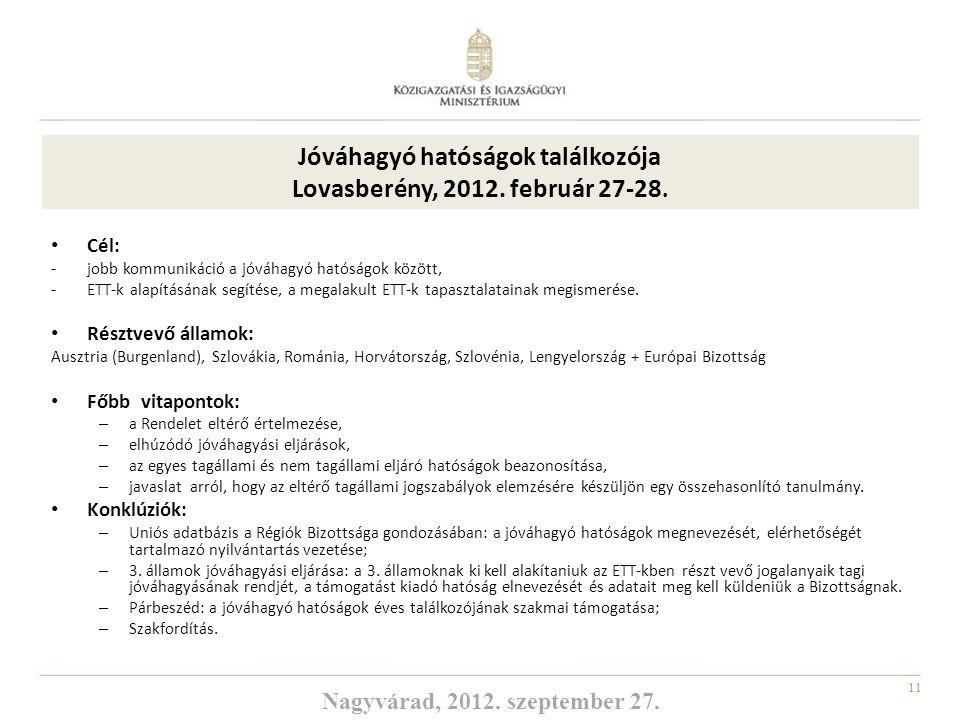 11 Jóváhagyó hatóságok találkozója Lovasberény, 2012. február 27-28. Cél: -jobb kommunikáció a jóváhagyó hatóságok között, -ETT-k alapításának segítés