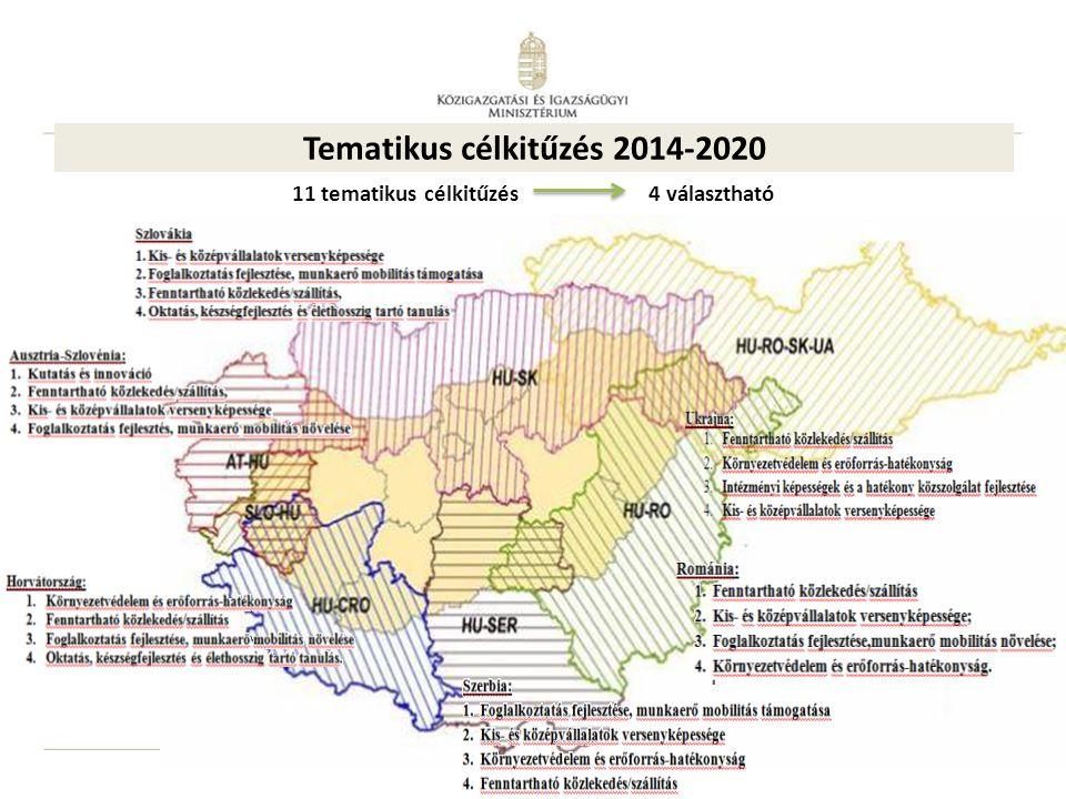 19 11 tematikus célkitűzés 4 választható Tematikus célkitűzés 2014-2020