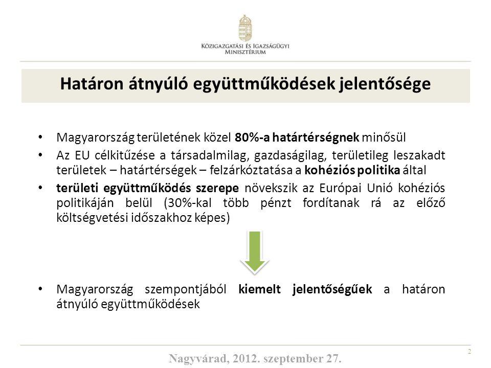 2 Magyarország területének közel 80%-a határtérségnek minősül Az EU célkitűzése a társadalmilag, gazdaságilag, területileg leszakadt területek – határ