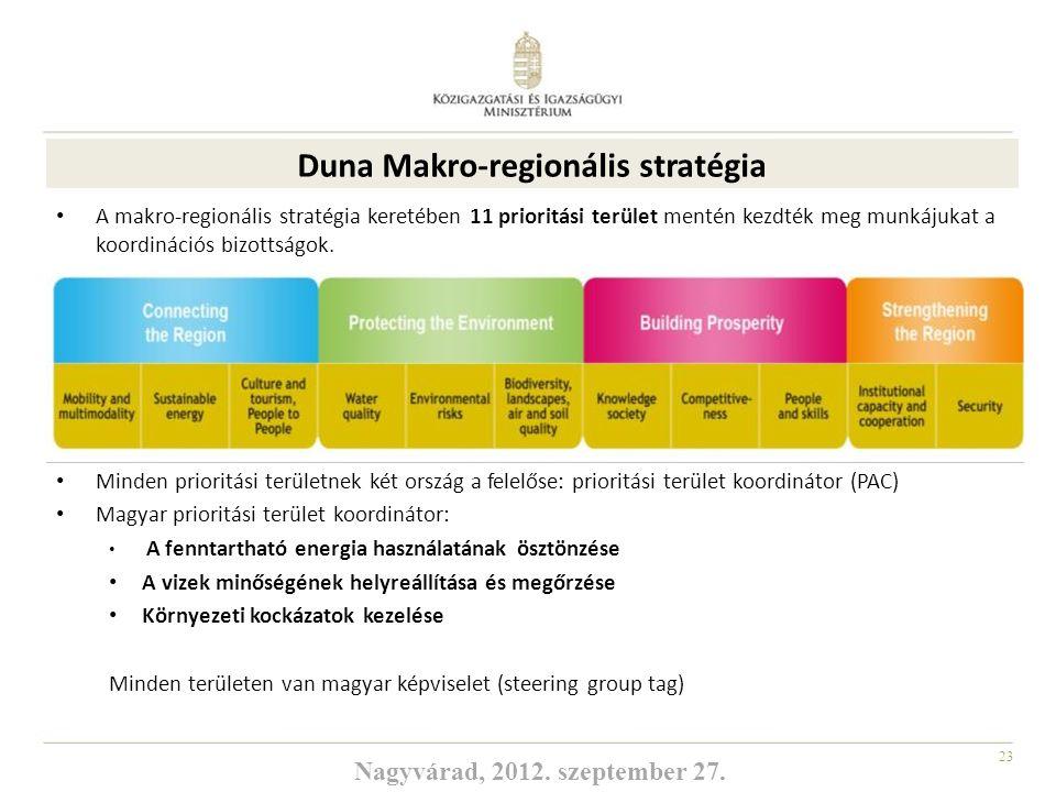 23 DUNA MAKRO REGIONÁLIS STRATÉGIA A makro-regionális stratégia keretében 11 prioritási terület mentén kezdték meg munkájukat a koordinációs bizottság