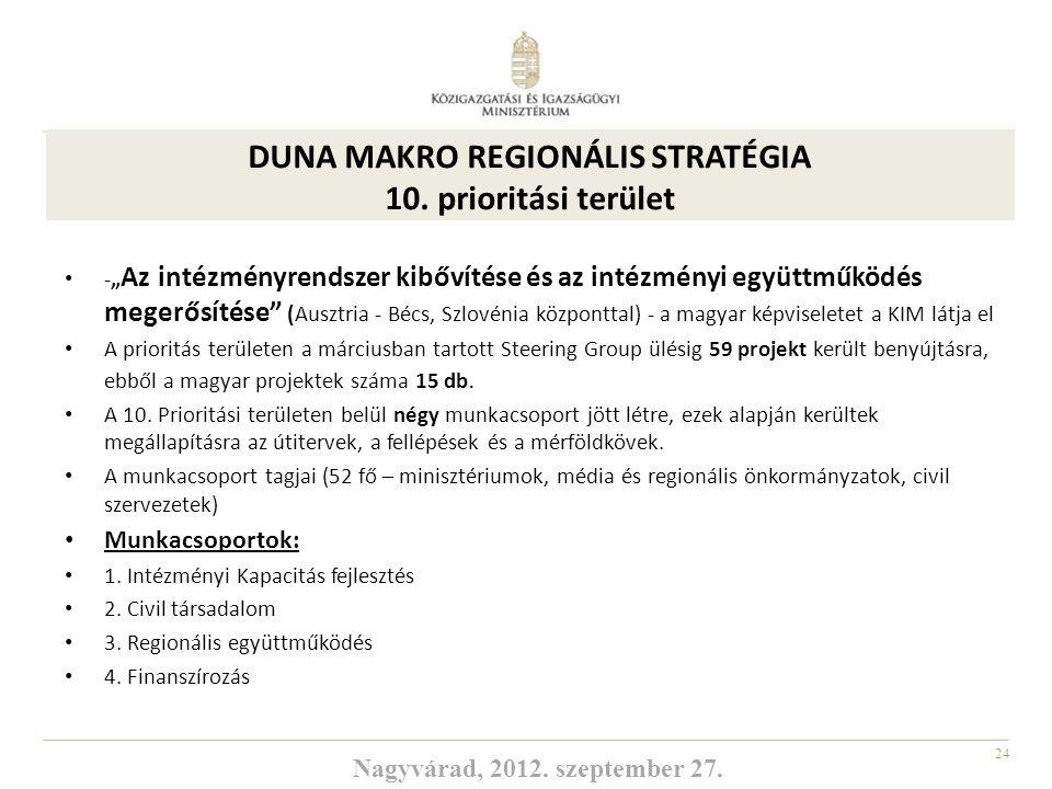 """24 A 10. prioritási terület: -"""" Az intézményrendszer kibővítése és az intézményi együttműködés megerősítése"""" (Ausztria - Bécs, Szlovénia központtal) -"""