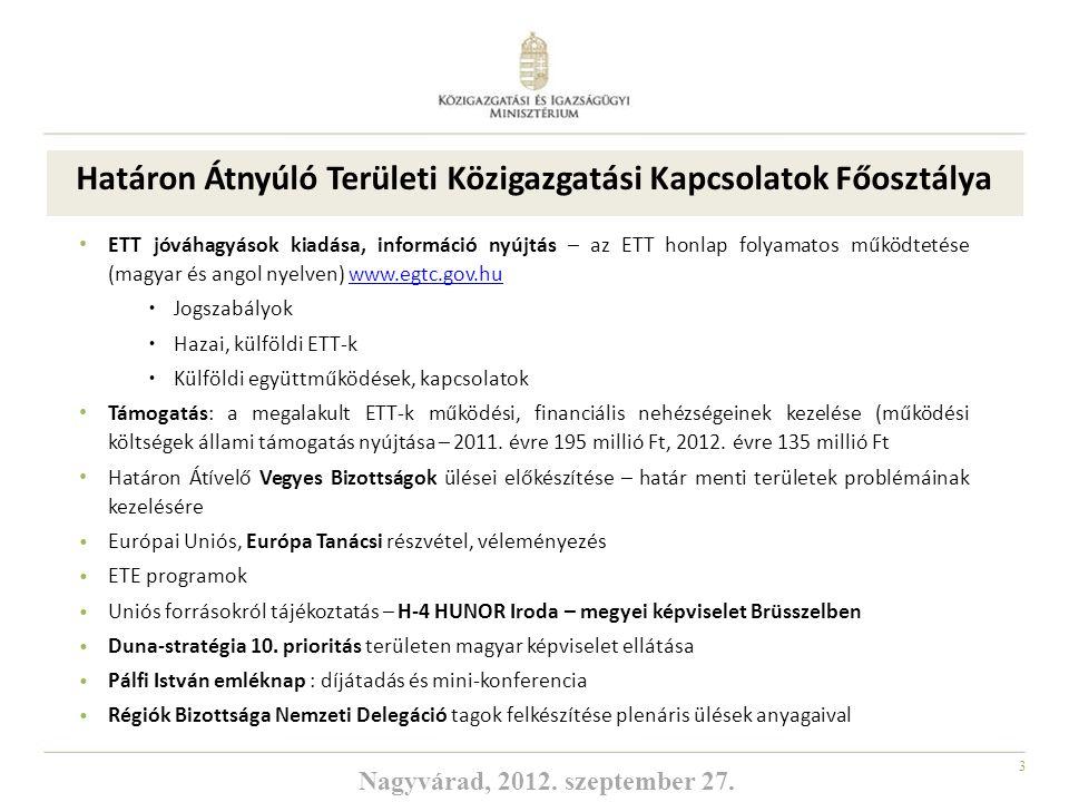 4 ETT-k Magyarországon Az uniós támogatások hatékony felhasználására született meg 2006-ban az Európai Területi Társulások intézménye (ETT), angol nevén EGTC, az Európai Unió első olyan jogi eszköze, mely jogi személyiséget és -keretet nyújt az európai önkormányzatok és régiók együttműködésére Abaúj Abaújban ETT Arrabona ETT Banat-Triplex Confinium ETT Ister-Granum ETT Novohrad-Nógrád ETT Rába-Duna-Vág ETT Ung-Tisza-Túr-Sajó ETT Pons Danubii ETT Pannon ETT Bodrogközi ETT Európa-Kapu ETT Nyilvántartásba vett ETT-kJóváhagyást kapott ETT-k Békés Arad ETT Európai Közös Jövő ETT Gömör-Tornai ETT Európai Határvárosok ETT EUKN ETT CETC ETT Nagyvárad, 2012.