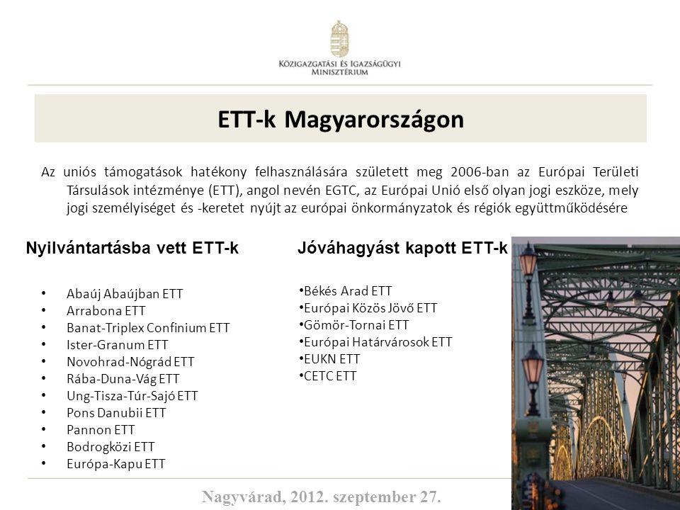 4 ETT-k Magyarországon Az uniós támogatások hatékony felhasználására született meg 2006-ban az Európai Területi Társulások intézménye (ETT), angol nev