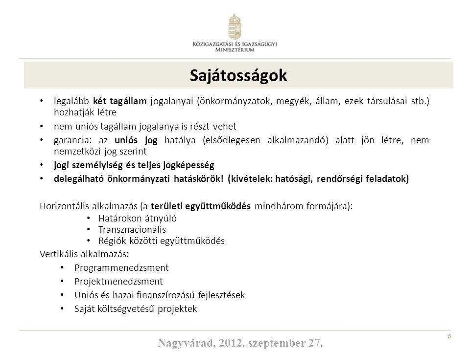 17 2007-2013-as futó programok sikeres végrehajtása a 2014-2020-as időszak új programjainak előkészítése és a támogatási területek kidolgozása oly módon, hogy azok a lehető legnagyobb mértékben elősegítsék a nemzeti célkitűzések megvalósítását Hazai feladatok Ágazati prioritásokat tartalmazó, területi érdekekre figyelemmel megvalósuló programozás Hangsúlyosabb brüsszeli jelenlét (ÁK HR diplomata, H-4 Iroda) Célkitűzések Nagyvárad, 2012.