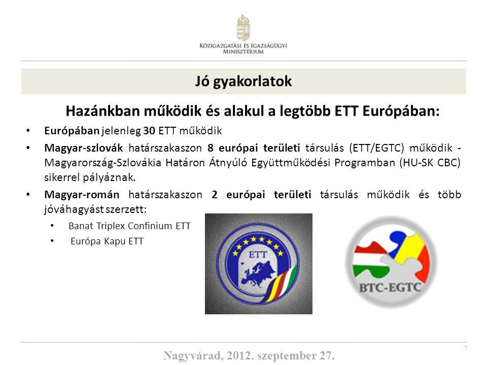 7 Hazánkban működik és alakul a legtöbb ETT Európában: Európában jelenleg 30 ETT működik Magyar-szlovák határszakaszon 8 európai területi társulás (ET