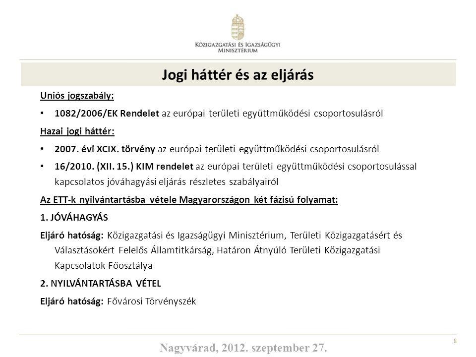 8 Uniós jogszabály: 1082/2006/EK Rendelet az európai területi együttműködési csoportosulásról Hazai jogi háttér: 2007. évi XCIX. törvény az európai te