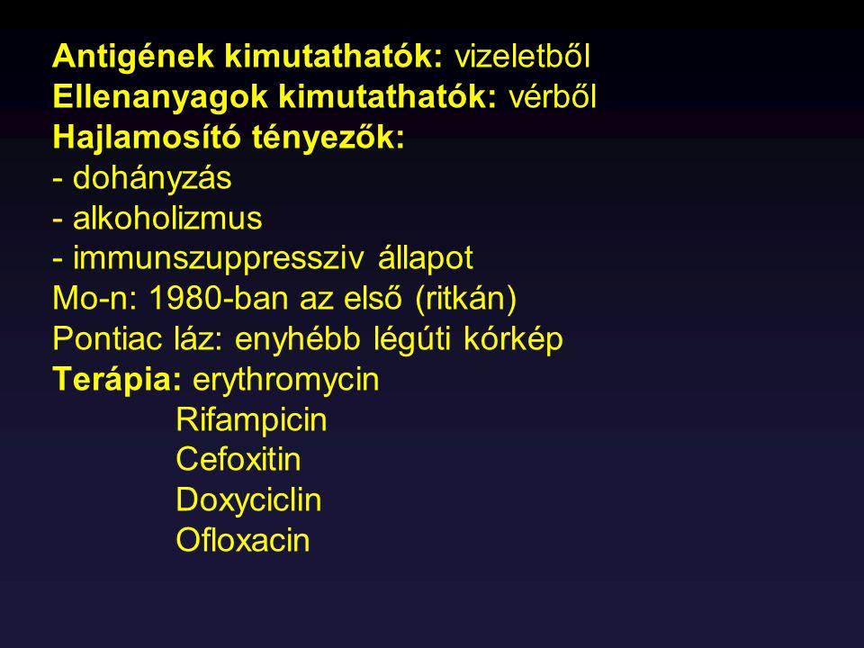Antigének kimutathatók: vizeletből Ellenanyagok kimutathatók: vérből Hajlamosító tényezők: - dohányzás - alkoholizmus - immunszuppressziv állapot Mo-n